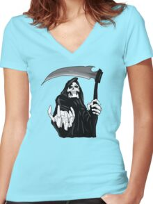 The grim reaper hell design  Women's Fitted V-Neck T-Shirt