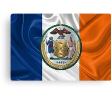 New York City Coat of Arms - City of New York Seal over NYC Flag  Canvas Print