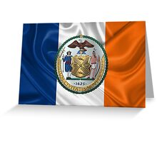 New York City Coat of Arms - City of New York Seal over NYC Flag  Greeting Card