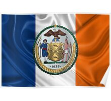 New York City Coat of Arms - City of New York Seal over NYC Flag  Poster