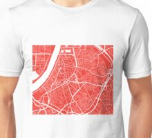 Antwerp Map - Red Unisex T-Shirt