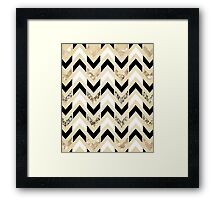 Black, White & Gold Glitter Herringbone Chevron on Nude Cream Framed Print