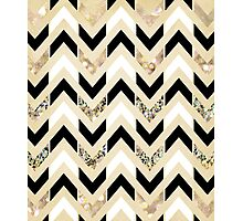 Black, White & Gold Glitter Herringbone Chevron on Nude Cream Photographic Print