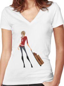 Traveler Girl Women's Fitted V-Neck T-Shirt