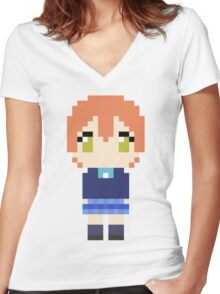 Pixel Rin Women's Fitted V-Neck T-Shirt