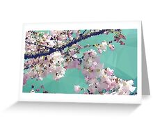 Meshed Up Japanese Sakura Blossoms Greeting Card