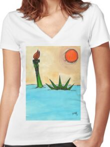 Liberty Submerged Women's Fitted V-Neck T-Shirt