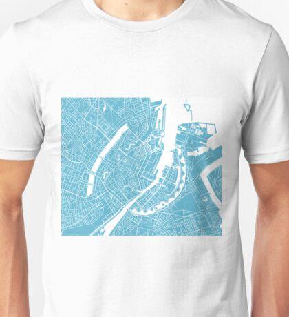 Copenhagen Map - Baby Blue Unisex T-Shirt