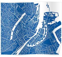 Copenhagen Map - Deep Blue Poster