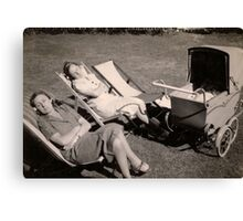 The relaxed attitude to parenting in the 1930s. Canvas Print