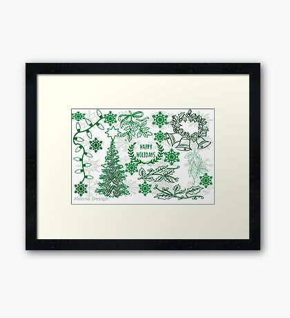 Christmas doodle (102 Views) Framed Print