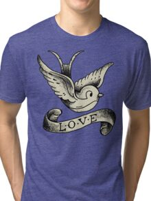 Love Vintage Old School Bird Tattoo (Black Background) #trending #tapestry #t-shirt Tri-blend T-Shirt