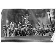 horses in a chariot sculpture Poster