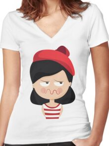This French Girl. Oh la la. // Funny French Girl Emoticon Women's Fitted V-Neck T-Shirt