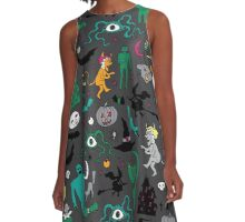 Retro Halloween - on grey A-Line Dress