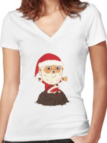 santa claus Women's Fitted V-Neck T-Shirt