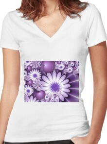 Falling in Love Fantasy Fractal Art Women's Fitted V-Neck T-Shirt