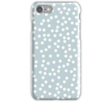 Cute Silvery Blue and White Polka Dots iPhone Case/Skin