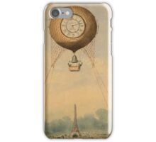 Balloon with clock face over Eiffel Tower iPhone Case/Skin