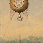 Balloon with clock face over Eiffel Tower by ARTPICSS