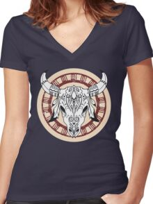 Ethnic Animal Skull // Old School Tattoo Inspired Women's Fitted V-Neck T-Shirt