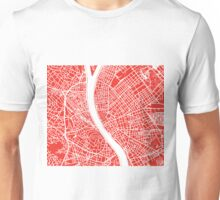Budapest Map - Red Unisex T-Shirt