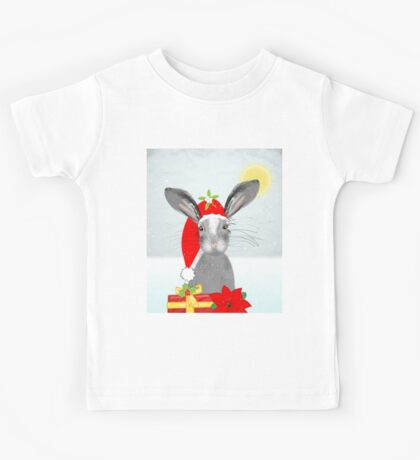 Cute Rabbit Christmas Holidays Themed Whimsy Design Kids Tee