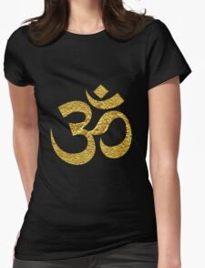 Om Symbol Gold Womens Fitted T-Shirt