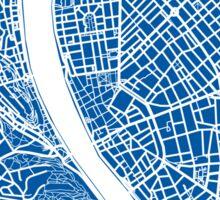 Budapest Map - Deep Blue Sticker
