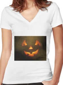 Halloween Welcome Women's Fitted V-Neck T-Shirt