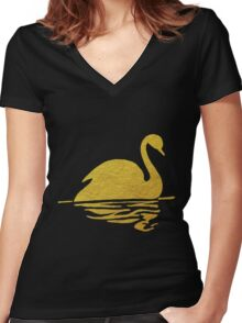 Gold Swan Reflection Women's Fitted V-Neck T-Shirt