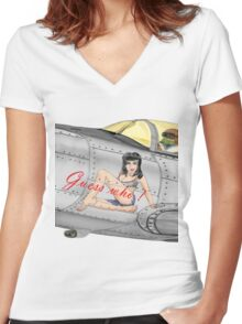 Fighter Nose Art - Guess who ! Women's Fitted V-Neck T-Shirt