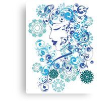Winter Girl with Floral 6 Canvas Print