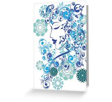Winter Girl with Floral 6 Greeting Card