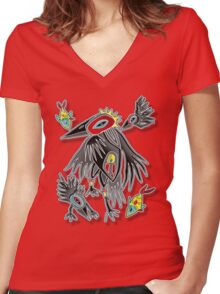2 fish and 3 crows Women's Fitted V-Neck T-Shirt