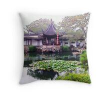 Chinese Garden, Photo / Digital Painting  Throw Pillow