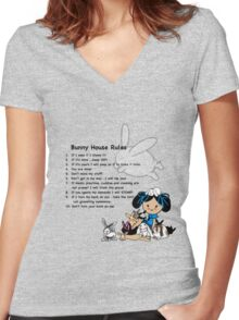 Bunny House Rules - Cartoon gift for tabbit owners Women's Fitted V-Neck T-Shirt