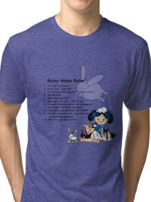 Bunny House Rules - Cartoon gift for Rabbit owners Tri-blend T-Shirt