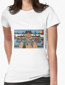 Inside Kameido Tenmangu shrine - Hiroshige Ando - 1853 Womens Fitted T-Shirt