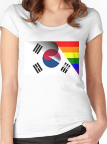 South Korea Flag Gay Pride Rainbow Flag Women's Fitted Scoop T-Shirt