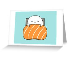 sleepy sushi bed Greeting Card