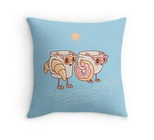 CUPS ON THE BEACH Throw Pillow