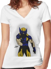 Wolverine Pose Women's Fitted V-Neck T-Shirt