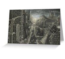 Gothic city at night Greeting Card