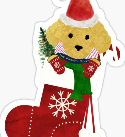 Cute Golden Retriever Puppy Christmas Stocking Sticker