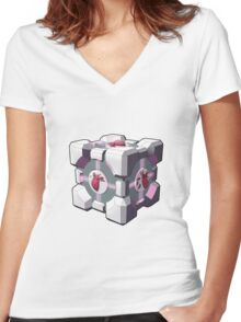 Companion cube has a heart Women's Fitted V-Neck T-Shirt