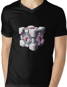 Companion cube has a heart Mens V-Neck T-Shirt