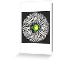 Green Gemstone Mandala on Charcoal Background Greeting Card