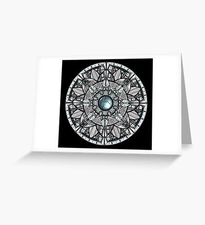Steel Blue Mandala Greeting Card