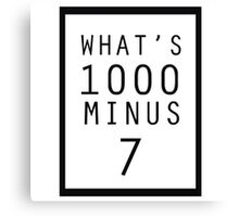 What is 1000 Minus Design Canvas Print